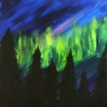 Painting on the Deck at the Freight House - Northern Lights