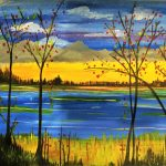 Painting a Fall Lake Scene at the Freight House