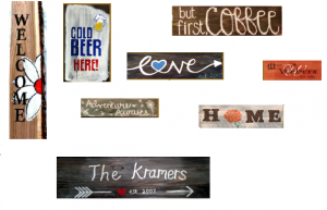 Paint Sip Nosh: Wooden Signs with Half Priced Bottles of Wine at Mallards
