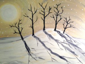 "Painting at Mallards on the St. Croix - ""Moonlit Trees"""