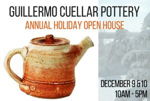 Guillermo Cuellar Pottery Holiday Open Studio Sale...