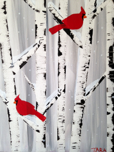 """Paint Sip Nosh at the Freight House - """"Cardinals in Winter Birches"""""""
