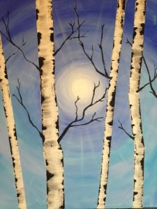 Painting at Mallards on the St. Croix - Birches and Winter Sky