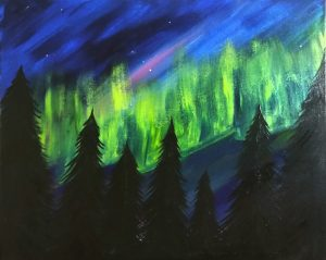 """Painting at Mallards on the St Croix - """"Northern Lights"""""""