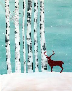 """Paint Sip Nosh at the Water Street Inn - """"Winter Deer"""""""