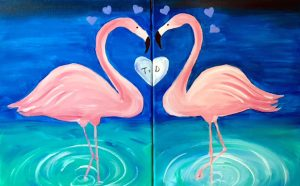 Painting at Mallards on the St. Croix & Half Priced Wine - Flirting Flamingos