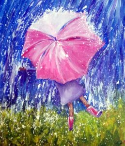 Paint Sip Nosh with Half-priced Wine: Dancing in the Rain
