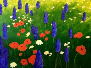 Painting at Mallards on the St. Croix: Lupines and Poppies