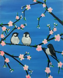 """Painting on the St Croix - """"Spring Chickadees"""""""