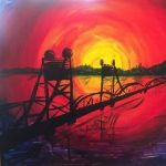"""Painting and a Pint"" - ""Stillwater Lift Bridge at Sunset"""