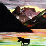 "Painting on the St. Croix - ""Moose and Mountains"""