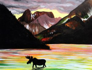 """Painting on the St. Croix - """"Moose and Mountains"""""""