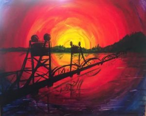 "Painting and a Pint - ""Stillwater Lift Bridge at Sunset"""