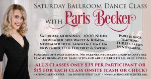 November Saturday Morning Ballroom Classes with Paris Becker at the HAC