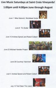 Live Music Saturdays at Saint Croix Vineyards!