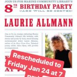 Marine Library 8th Birthday Party with author Laurie Allmann