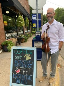 Violinist Travis Peterson at Coffee Paw Cafe